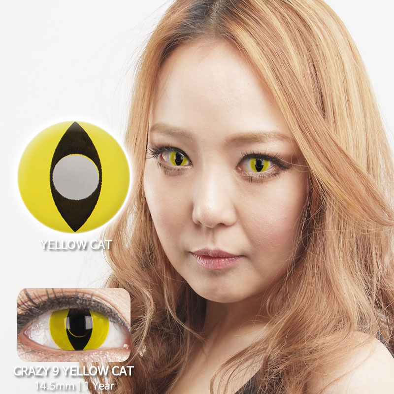 Yellow cat 9 colored contacts